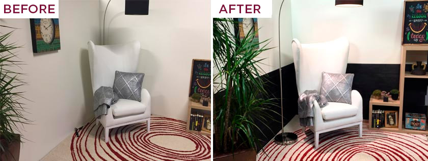 Before and after of a reading nook