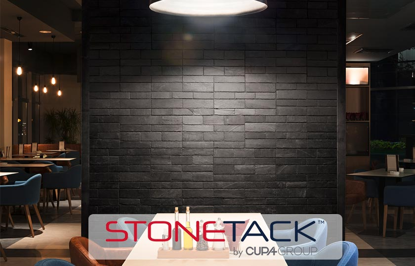 STONETACK, the first adhesive natural slate panel