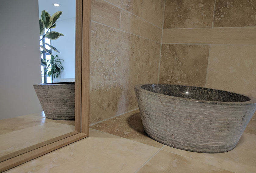 Beige Travertine CUPA STONE for bathrooms