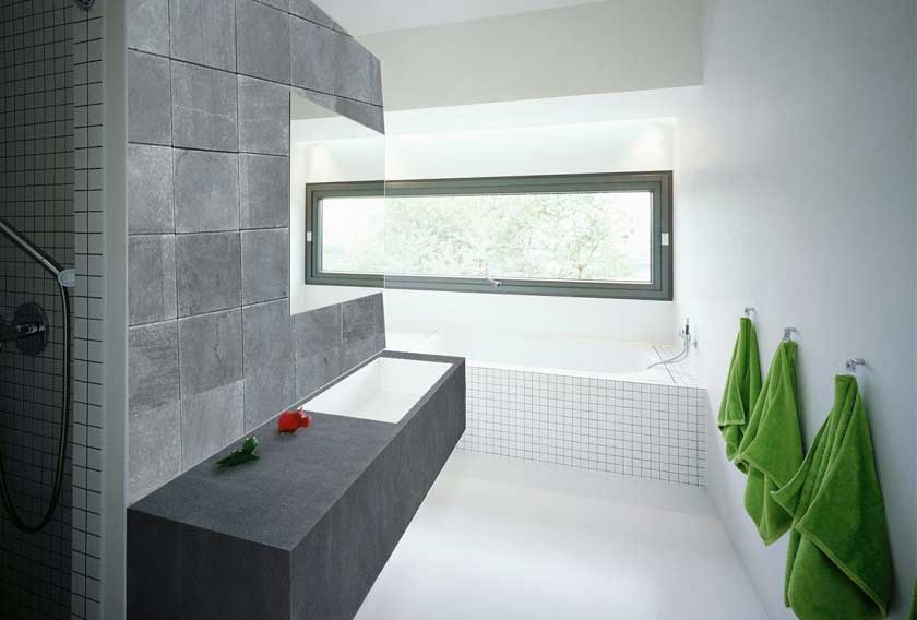 A natural stone wall cladding for a bathroom