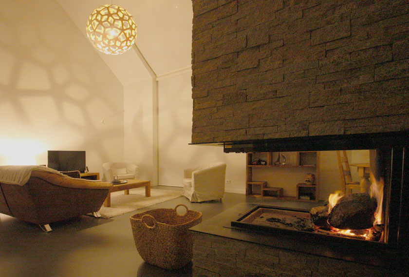 A natural stone fireplace