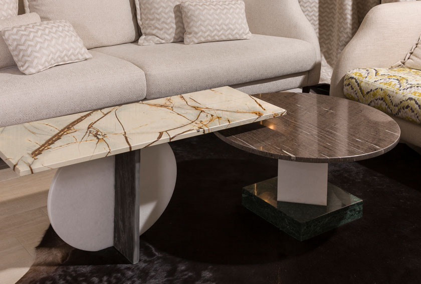 Natural stone coffee tables for a living room