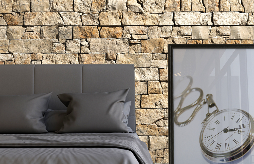 Stonepanel Nilo for a wall cladding in a bedroom